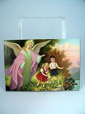 SCHUTZENGEL BILD Druck auf Holztafel 12,5 x 18,5 cm neu. Engel Bild, Engelbilder
