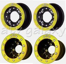 "Hiper CF1 Beadlock Carbon Fiber Rims Wheels 10"" Front 10"" Rear Yellow YFZ Raptor"