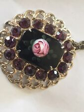 Vintage SPEIDEL  Gold Filled Necklace With ILarge Purple Rhinestones ??Scrap Or?