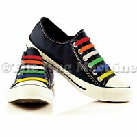 SLIP ONS - Colour Silicone Shoelaces - Not Tie No Mess Stretchy Fun Laces **NEW*