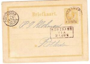 SURINAME Postal Card-HG:5-PARAMARIBO 28/11/1888-to HOLLAND-SURINAME VIA