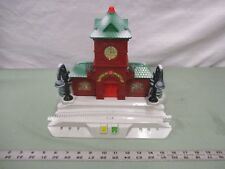 Fisher price geotrax christmas train station red brick clock tower lights trees