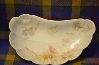 Vtg HAVILAND & CO Limoges China Floral Pattern Crescent Shaped Bone Dish