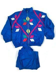 Vintage Slade Women's Wind Breaker Jacket & Pant 80's 90's Full Zip Nylon Size L