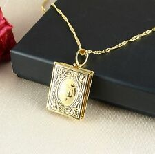 N1 18K Gold Plated Allah Koran Locket Pendant Necklace