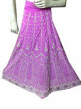 Om Vintage Indian Wedding Art Silk Hand Beaded Purple Lehenga Unstitched LP14