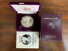 1989 AMERICAN SILVER EAGLE PROOF 1 OZ COIN WITH BOX AND COA