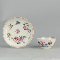 Antique 18th c Chinese Porcelain Famille Rose Tea Bowl Cup Saucer Qing