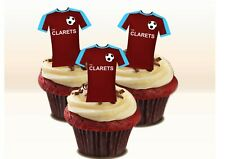 BURNLEY Colours Stand-up Cake Toppers. Novelty Fun Party Edible Wafer Birthday