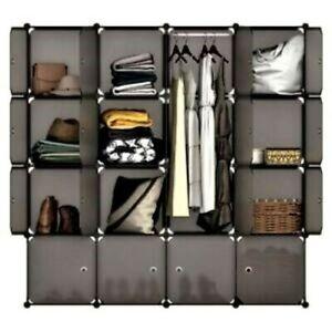 Modular Closet Organizer Plastic Cabinet, 16 Cube