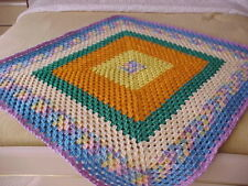 """MULTI COLOR BRAND NEW HOME MADE HAND CROCHET AFGHAN BLANKET 38"""" x 38"""""""