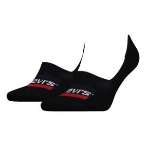 Levi's Taille Basse Vêtements de Sport Logo 2 Paquet Chaussettes - Noir Neuf