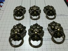 6 PCS Chinese Antique Old  Style Lion Tiger Knobs Drawer Pulls Handles For Box