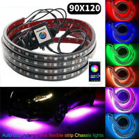 4PCS RGB LED Under Car Tube Strip Lights Underglow body Neon Light  App Control