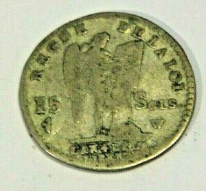 Monnaie Argent - 15 Sols - Louis XVI - Monarchie Constitutionnelle - 1792 W