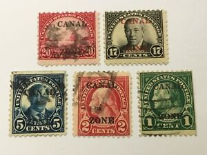 old stamps  PANAMA/CANAL ZONE    x  5 optd USA stamps