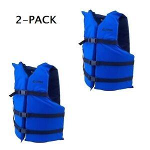 Life Jackets 2 Blue Adult Type III Universal Boating Vest Preserver Ski Jacket