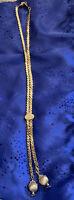 Vintage Signed MONET Shiny Gold Tone Long Adjustable Chain Necklace