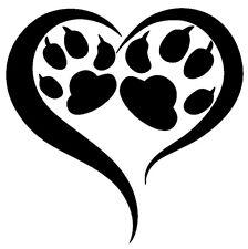 Amour Cœur Patte, Dog, Cat, Patte de chat chien x Autocollant Sticker xx