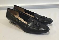 Vintage Salvatore Ferragamo Womens Black Basket Weave Pumps Shoes w/Tassels 6 AA