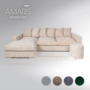 AMARIS Elements   Ecksofa 'Newman' Samt Couch beige creme Sofa Wohnlandschaft 3m