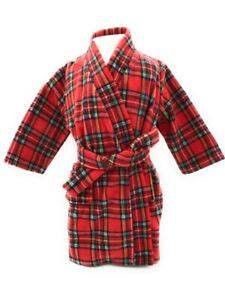 Children Tradition Scottish Tartan Fleece Dressing Gown Design New