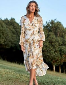 """Forever New """" Lola"""" Long Sleeved Printed Maxi Dress BNWT Size 16"""