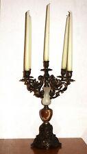 Antik Messing-Onyx Kerzenleuchter, Kandelaber 5 Armig, 44 cm Hoch