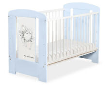 My Sweet Baby - Baby White Cot with Grey Heart - Blue