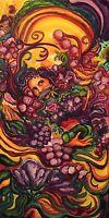 Colorful Bounty Botanical Acrylic painting original surrealist Art by artist