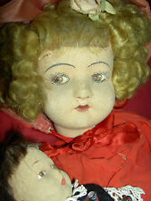 RARE antique jtd. felt cloth, ALMA Italy doll & small B.Altman 1920s felt child