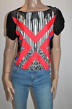 LILY WHYT Designer Black Red Printed Crop Tee Size 6 BNWT #SK92