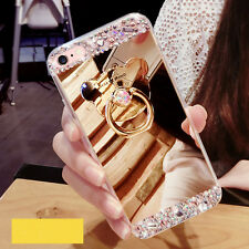 Crystal Diamond Ring Holder Kickstand Mirror Back Mobile Phone Cover Case Skin