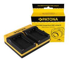 Caricabatteria USB dual Patona per Pentax Optio NB1000,RS1000,RS1500,L40,M30,M40