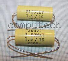 1 pezzo Condensatore Assiale 1,5uF 250v 10% in Poliestere MKT  PLESSEY
