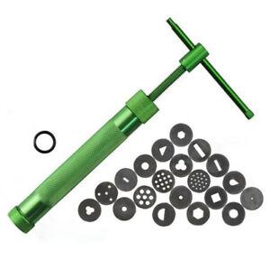 new Green Clay Extruder Polymer Craft Gun Cake Sugarcraft Kit Tool W/20Discs New