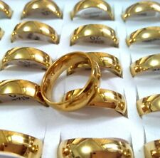 25pcs Gold Polish 6mm Band Stainless Steel Engagement Wedding Ring Comfortable
