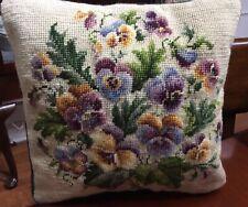 "Vintage Petit Point Needlepoint Floral Pansy Pillow Green Velvet Zipper 13"""