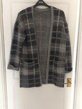 ladies long length cardigan Grey Check. Size 12