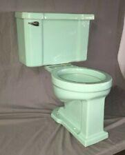 Vtg Mid Century Aqua Blue Green Porcelain Toilet Bowl Tank Lid  Rheem 351-19E