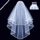 2018 2 Layer White Ivory Elbow Length Edge Bride Wedding Bridal Veil Comb Beauty