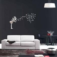 DIY Modern Fairy Stars Acrylic Mirror Wall Stickers Room Decal Decoration Silver