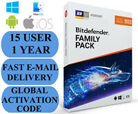 Bitdefender Family Pack 15 DEVICE 1 YEAR + FREE VPN GLOBAL CODE 2020