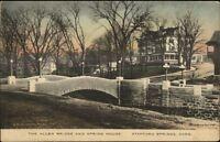 Stafford Springs CT Allen Bridge & Spring House c1910 Postcard