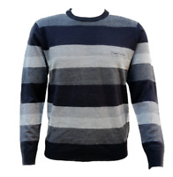 "MEN`S NEW PIERRE CARDIN STRIPE KNIT JUMPER SIZE 3XL / 48"" CHEST CREW NECK TOP"