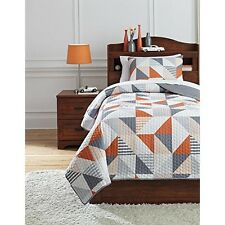 Ashley Furniture Q408001T 69 X 90 In. Layne Twin Coverlet Set Gray & Orange