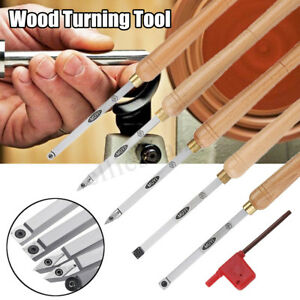 Lathe Wood Turning Tool Chisel Carbide Insert Cutter Square Shank w/ Wood