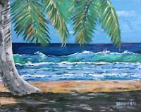 NEW BEACH Palm Tree Original Fine Art PAINTING DAN BYL Modern Contemporary 4x5ft