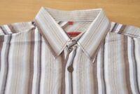 Q444 Signum Hemd Größe M - gestreift weiß braun blau grau - Herren Langarm
