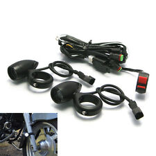 BLACK Ally Bullet Spot Fog Lights with Complete Wiring Kit & 50-51mm Fork Clamps